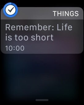 "Reminder notification reading ""Remember: Life is too short"""